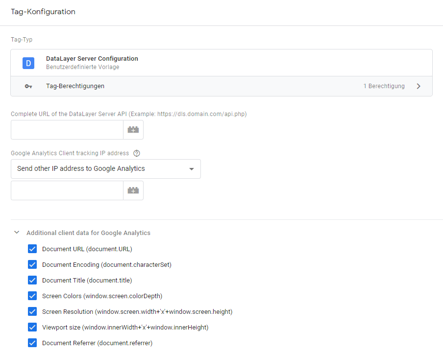 Tag Manager Server settings in the GTM via custom template.